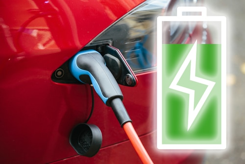power symbol of electric car charging