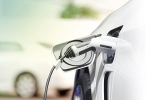 Electric car charging cable side view